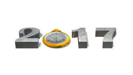 12 hour: 2017 New Year with pocket watch - isolated on white Stock Photo