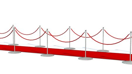 stanchion: red carpet with silver stanchions isolated on white