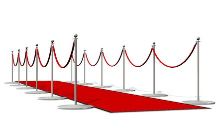 red carpet with silver stanchions isolated on white
