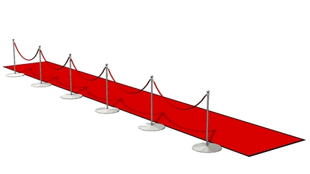 prestige: red carpet with silver stanchions isolated on white