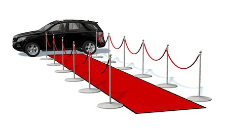 prestige: luxury car and silver stanchions and a red carpet - VIP