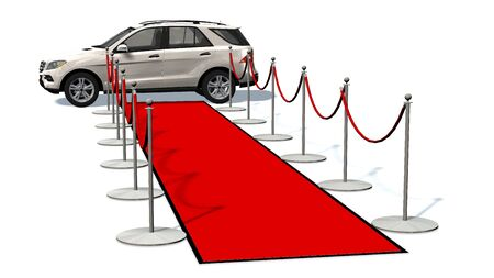 prestige car: luxury car and silver stanchions and a red carpet - VIP