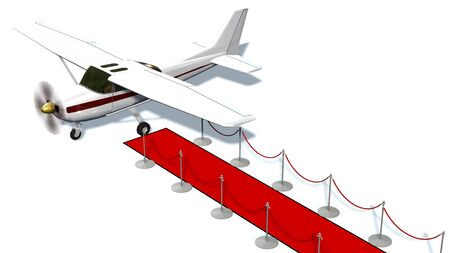 prestige: light airplane and silver stanchions and a red carpet - VIP