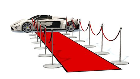 car driver: luxury car and silver stanchions and a red carpet - VIP