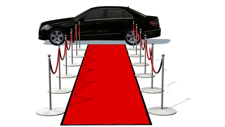 limousine: luxury car and silver stanchions and a red carpet - VIP