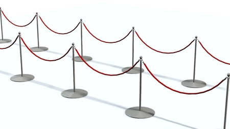 rope barrier: Luxury Barrier silver stanchions isolated on white Stock Photo