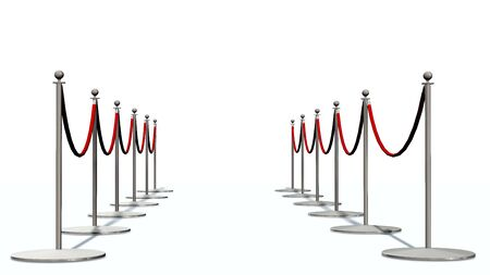 red barrier velvet: Luxury Barrier silver stanchions isolated on white Stock Photo