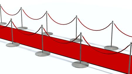 white carpet: red carpet with silver stanchions isolated on white