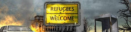 apocalyptic: Refugees welcome sign in front of destroid City After War Stock Photo