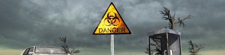 judgement day: biohazard sign in front of destroid City After War