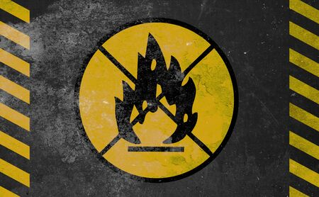 explosive gas: old yellow danger sign - fire