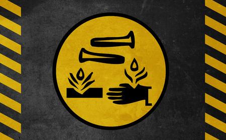 acido: Vieja señal de peligro amarilla - Ácido