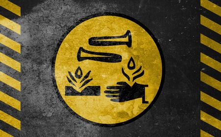 old yellow danger sign - Acid Фото со стока