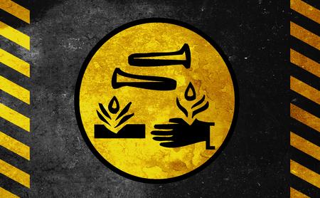 old yellow danger sign - Acid Stock Photo