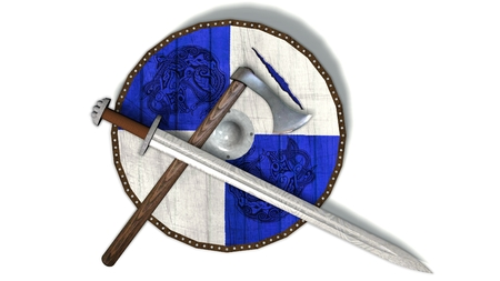 old viking shield with sword and ax - isolated on white