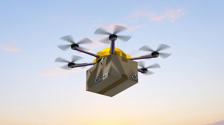 drone hexacopter delivers a packet