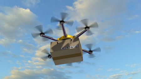 delivers: drone hexacopter delivers a packet