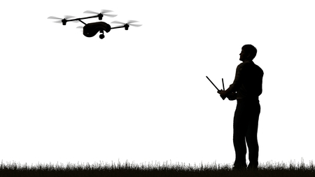 urbane: one operating of flying drone UAV Quadrocopter isolated on white Stock Photo