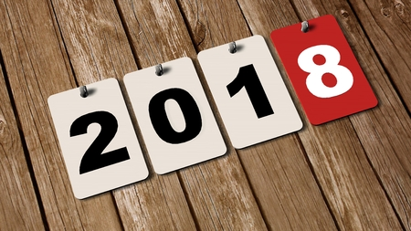 2018 calendar plates on wooden wall - new year 2018