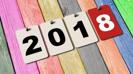 rende: 2018 calendar plates on wooden wall - new year 2018