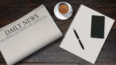 newspaper headline: office table with blank newspaper and the headline Daily News and smartphone on a white spiralbound paper drawing pad Stock Photo