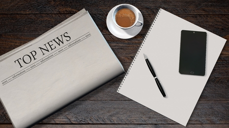 headline news: office table with blank newspaper and the headline news and top smartphone on a white spiralbound paper drawing pad