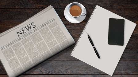 headline news: office table with newspaper and the headline news and smartphone on a white spiralbound paper drawing pad Stock Photo