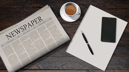 headline news: office table with newspaper and the headline news paper and smartphone on a white spiralbound paper drawing pad Stock Photo