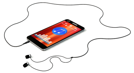 mp3 player: Smartphone with earphones and music player on display isolated on white Stock Photo