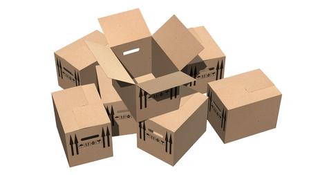 cajas de carton: cajas de cartón cajas de mudanza - aislados en blanco Foto de archivo