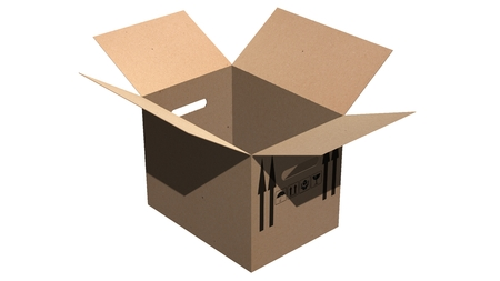 moving box: cardboard box moving box - isolated on white
