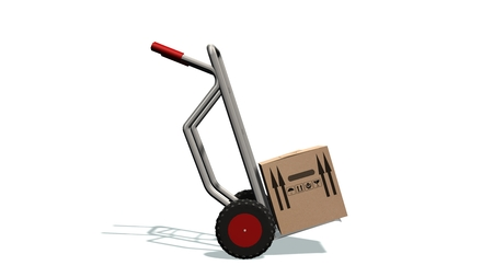 moving box: transport barrow with cardboard box moving box - isolated on white Stock Photo