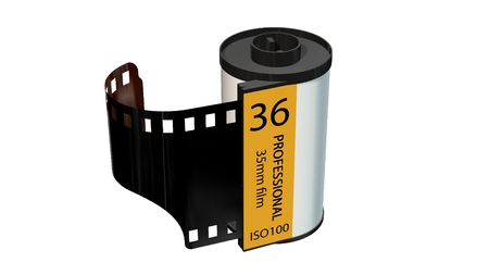 35mm camera photo movie canisters isolated on white