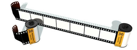analogous: 35mm camera photo movie canisters isolated on white