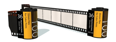 analogous: 35mm camera photo film-container isolated on white