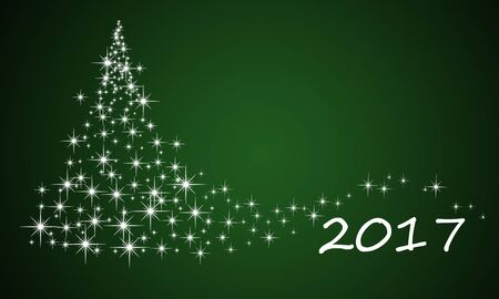 Christmas tree from stars abstract christmas winter 2017 background Stock Photo
