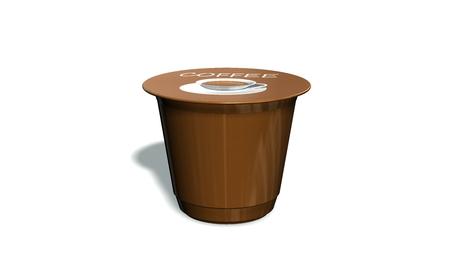 Einweg-Kaffeekapsel auf einem weißen Hintergrund Standard-Bild - 69634887