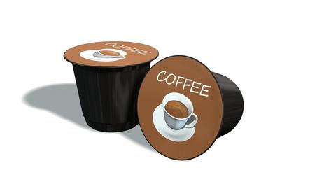 Einweg-Kaffeekapseln auf einem weißen Hintergrund Standard-Bild - 69440720