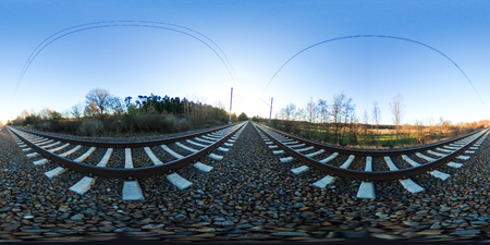 360 degrees spherical panorama of railroad tracks with gravel Standard-Bild