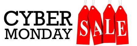 Cyber ??Monday sale website display with red hangtags promotion