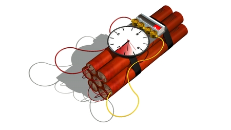 Dynamite bomb with clock timer - isolated on white