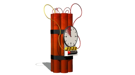 dinamita: Dynamite bomb with clock timer - isolated on white
