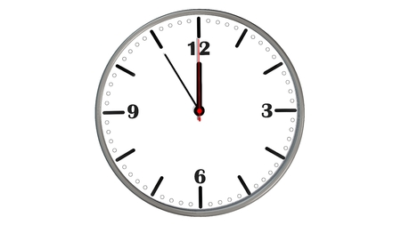 new opportunity: 5 to 12 clock - time to act concept isolated on white Stock Photo
