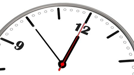10 to 12 clock - time to act concept isolated on white