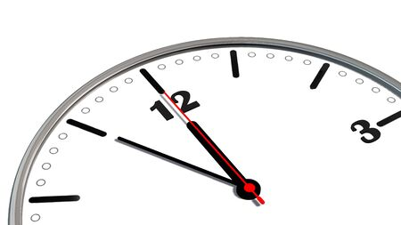 5 to 12 clock - time to act concept isolated on white Stock Photo