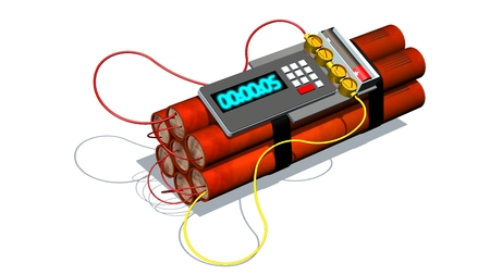 Dynamite bomb with digital timer - isolated on white