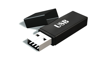 black USB Flash Memory Drives isolated on white