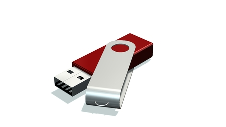 red USB Flash Memory Drives isolated on white