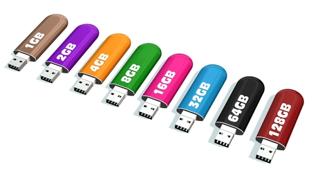 Set of color USB flash drives Memory Drives isolated on white Stock Photo