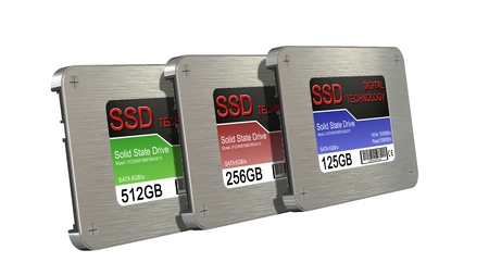 drives: SSD drive - State solid drives isolated on white background